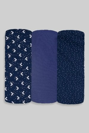שלישיית סדינים - כחול נקודות חלק ומשולשים - מיטת תינוק/מיטת מעבר   עריסה