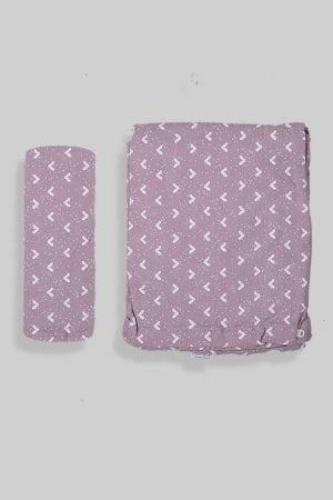 ציפה + סדין למיטת תינוק/מעבר - סגול משולשים