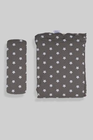 ציפה + סדין למיטת תינוק/מעבר - אפור כוכבים