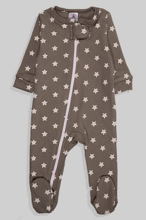 אוברול עם רוכסן כפול לתינוקות פלנל - אפור כוכבים (0-3 חודשים)