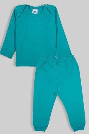 חליפת שינה שרוול ארוך פלנל - ירוק חלק (3 חודשים - 2.5 שנים)