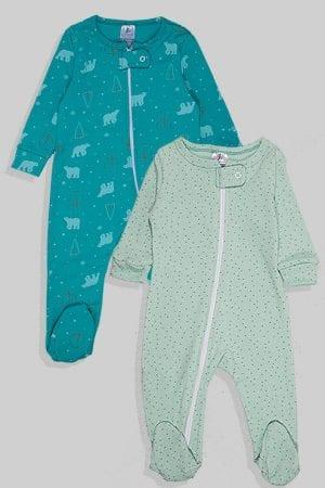 זוג אוברולים פלנל - דובים ונקודות - ירוק (0-18 חודשים)