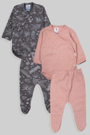 שני סטים בגדי גוף מעטפת ורגליות פלנל - חלק פרחים - ורוד אפור (0-3 חודשים)