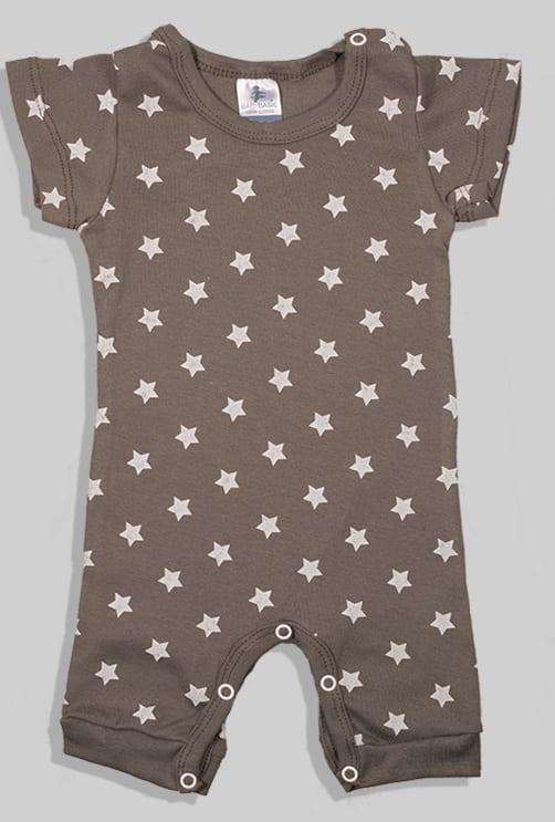 שלישיית אוברולים קצרים - משולשים כוכבים חלק - חום אפור (3-24 חודשים)