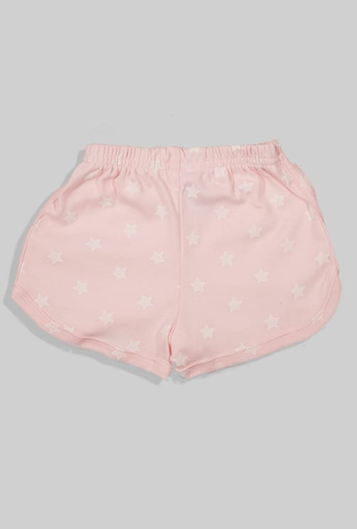 סט חליפת שינה קצר מכנס וחולצה - ורוד בהיר - כוכבים (12 חודשים - 4 שנים)