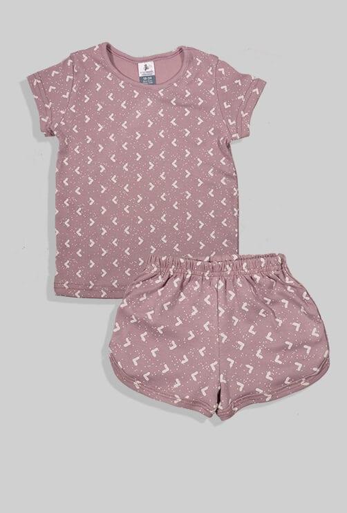 סט חליפת שינה קצר מכנס וחולצה - סגול - משולשים (12 חודשים - 4 שנים)
