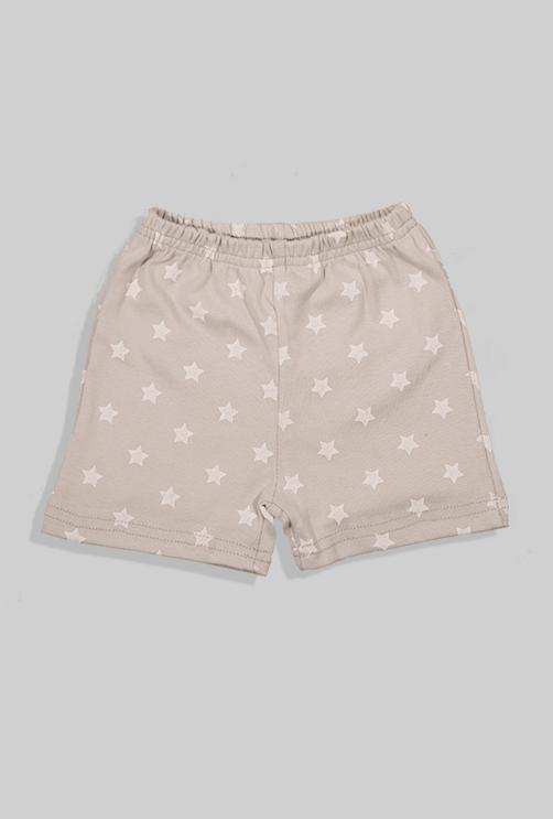 סט חליפת שינה קצר מכנס וחולצה - כוכבים - אפור בהיר (12 חודשים - 4 שנים)