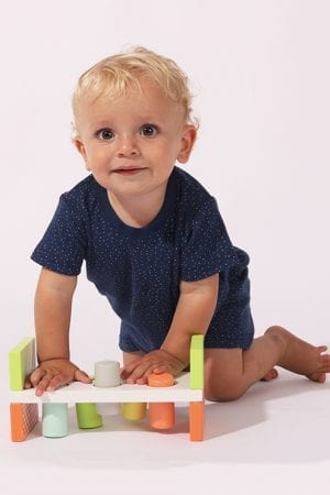 סט חליפת שינה קצר מכנס וחולצה - נקודות - כחול (12 חודשים - 4 שנים)