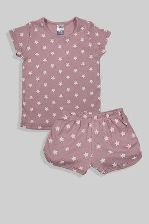 סט חליפת שינה קצר מכנס וחולצה - סגול - כוכבים (12 חודשים - 4 שנים)