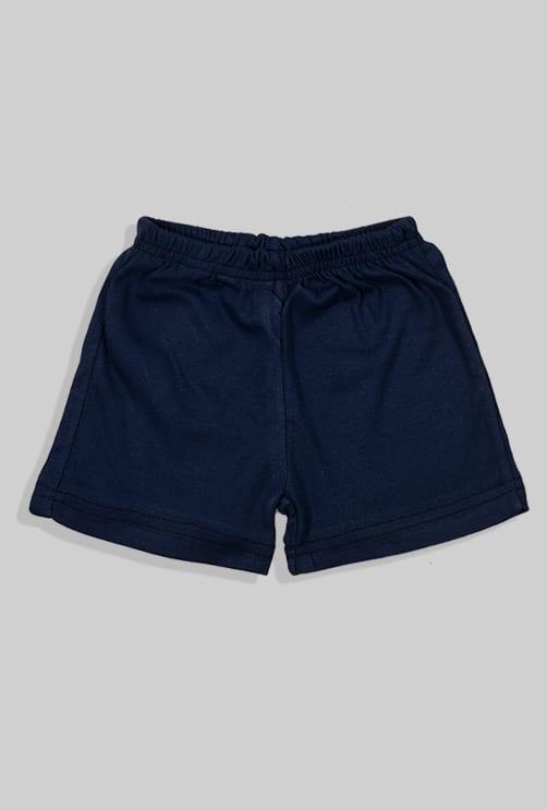 סט חליפת שינה קצר מכנס וחולצה - כחול חלק (12 חודשים - 4 שנים)