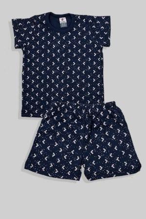 סט חליפת שינה קצר מכנס וחולצה - משולשים - כחול (12 חודשים - 4 שנים)