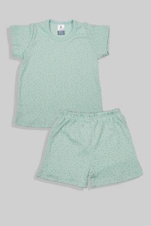סט חליפת שינה קצר מכנס וחולצה - נקודות - ירוק (12 חודשים - 4 שנים)