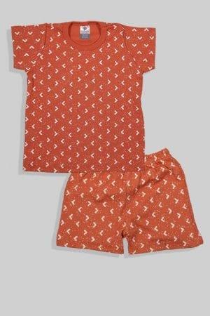 סט חליפת שינה קצר מכנס וחולצה - משולשים - חום (1 - 4 שנים)