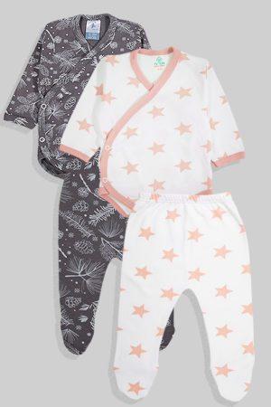 שני סטים בגדי גוף מעטפת ורגליות פלנל - כוכבים פרחים - לבן אפור (0-3 חודשים)