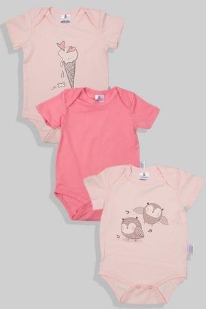 שלישיית בגדי גוף שרוול קצר  - ציפורים חלק גלידה (3 חודשים - שנתיים)