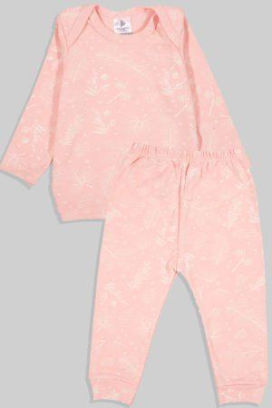חליפת שינה שרוול ארוך פלנל - ורוד בהיר פרחים (3 חודשים - 2.5 שנים)