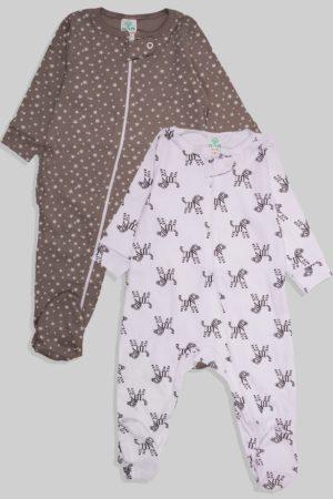 זוג אוברולים עם ריצרץ טריקו - כוכבים זברה - אפור שחור (0-3 חודשים)
