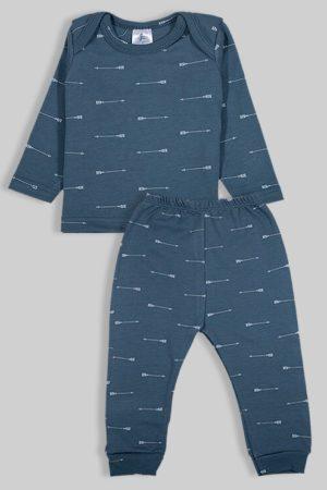 חליפת שינה שרוול ארוך פלנל - חיצים כחול (3 חודשים - 2.5 שנים)