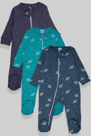 שלישיית אוברולים רוכסן כפול פלנל - דובים חלק - כחול ירוק (0-18 חודשים)