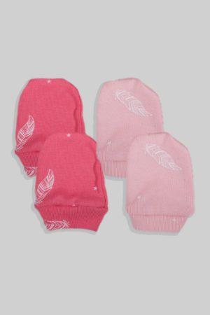 זוג כפפות לתינוק - נוצות ורוד (0-3 חודשים)