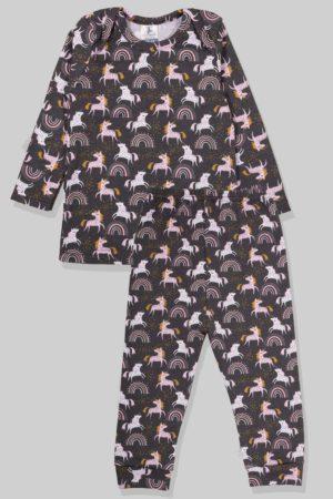 חליפת שינה שרוול ארוך פלנל - חד קרן (1 - 2.5 שנים)