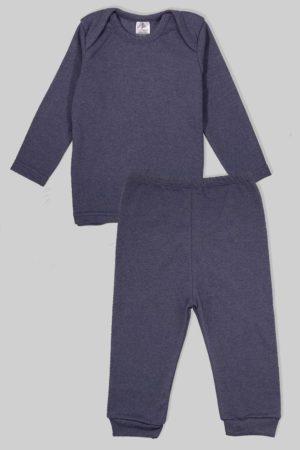 חליפת שינה שרוול ארוך פלנל - כחול מלאנז (1.5 - 2.5 שנים)