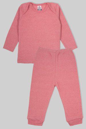 חליפת שינה שרוול ארוך פלנל - ורוד מלאנז (1.5 - 2.5 שנים)