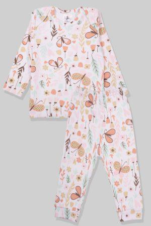 חליפת שינה שרוול ארוך פלנל - פרפרים (1 - 2.5 שנים)