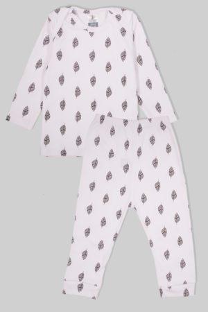 חליפת שינה שרוול ארוך פלנל - עלים (1.5 - 2.5 שנים)